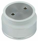 EF0404.110.31 Pignose fitting H=60-65mm D=50mm,opliggende kop glas 10- Pignose fitting met opliggende kop, afstand wand-glas 60 mm, diameter 50 mm. Uitvoering geborsteld RVS. Boorgat 35 mm. Voor glasdikte 10 -  25.52 mm.  EF0404.110.31